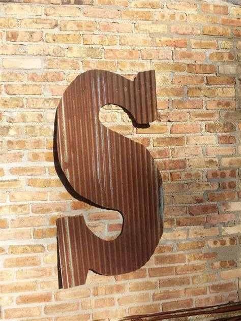 giant rusty tin letters  shipping monogram rustic