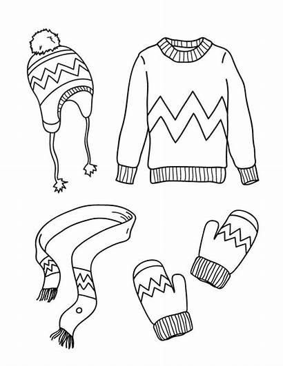Winter Coloring Clothes Pages Printable Museprintables Printables