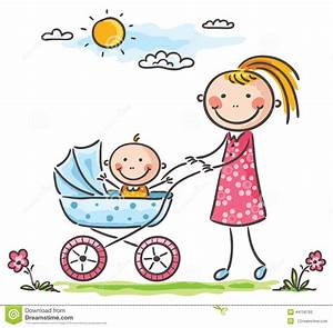 Mother And Baby On A Walk Stock Vector - Image: 44758793