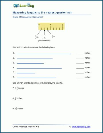 grade 3 math worksheet measuring length to the nearest