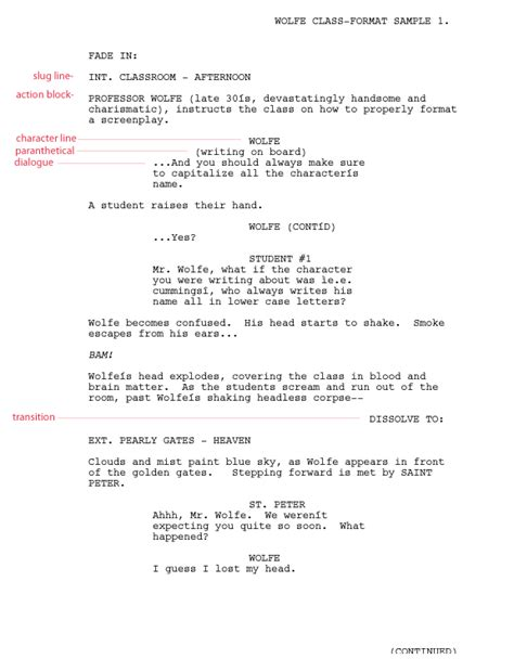 writing  film tv script format templates