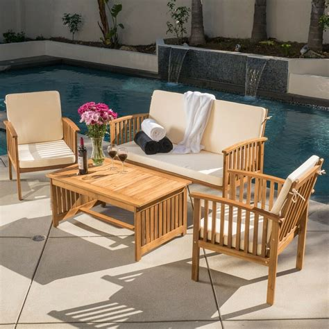 casual outdoor patio furniture wood stained finish  pc