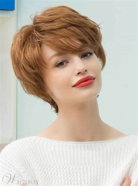 mishair graceful short feathered pixie haircut  wispy bangs human hair blend capless wigs