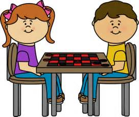 Kids Playing Checkers Game Clip Art