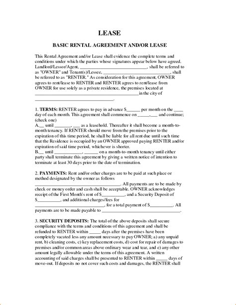 basic lease agreement template teknoswitch