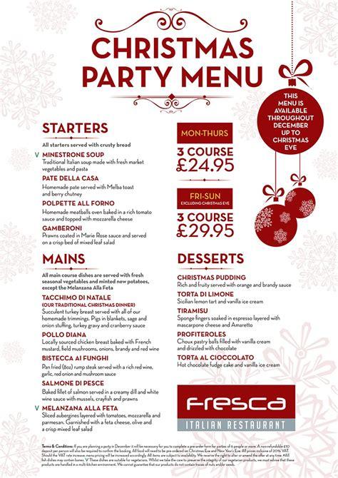 fresca restaurant menus christmas menu