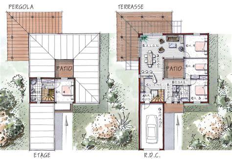 plan maison jardin interieur