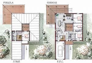 plan de maison avec patio optimale des produits frais With delightful dessiner maison en 3d 6 plan maison en u en bois ooreka