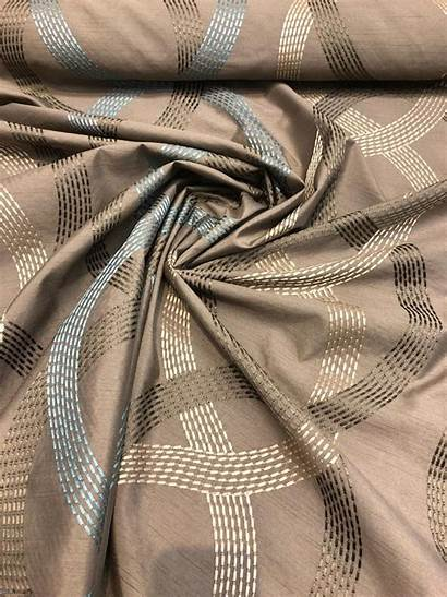 Fabric Embroidered Silk Drapery Polyester Wave Faux