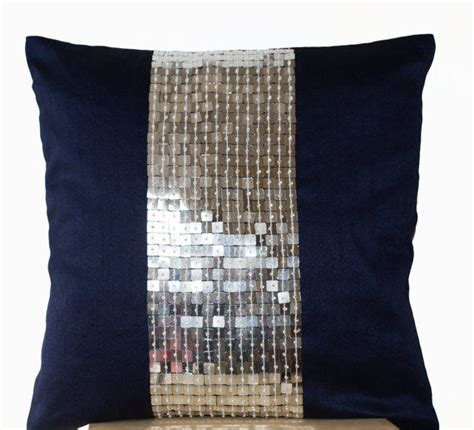 Navy Blue And Silver Throw Pillows by Metallic Throw Pillows Navy Blue Silver From Amorebeaute