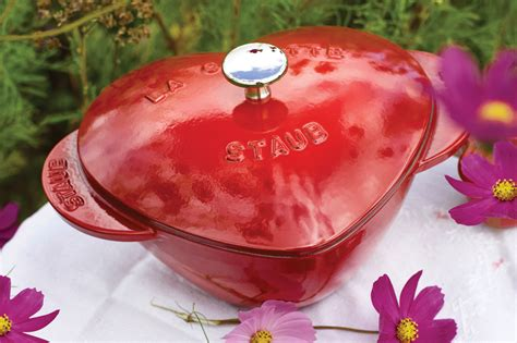 staub heart dutch oven  quart cherry red cutlery