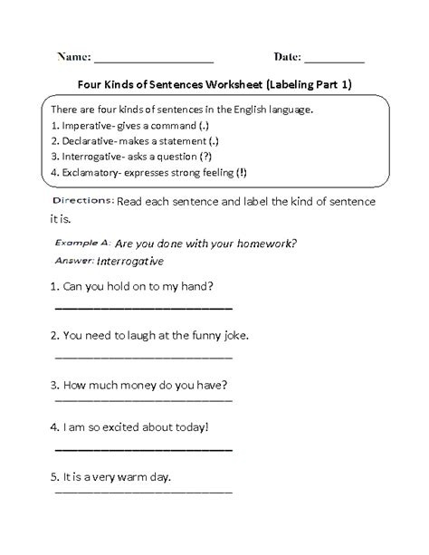 sentences worksheets kinds of sentences worksheets