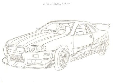 nissan skyline drawing outline how to draw a nissan skyline gtr r34