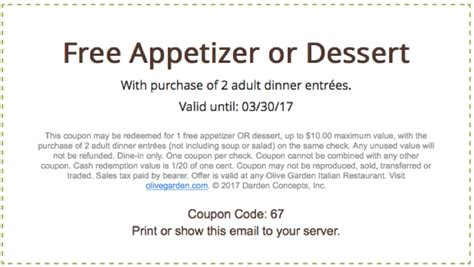 olive garden free appetizer printable coupons in codes