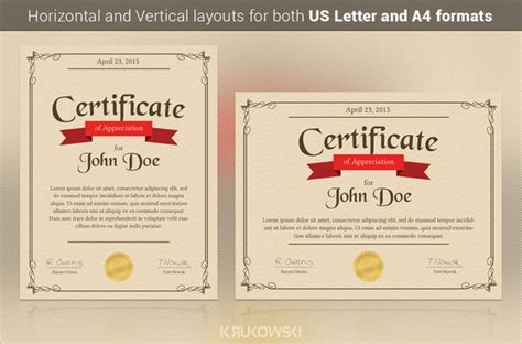 sample certificate  appreciation templates
