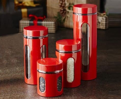 pin  esther frank  kitchen ideas canisters red