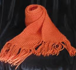 Ribbed Knit Scarf orange knit scarf ribbed scarf with fringes chunky scarf