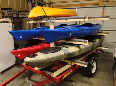 kayak rack for trailer canoe yact try diy kayak trailer harbor freight