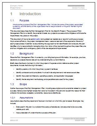 risk management plan template ms wordexcel templates