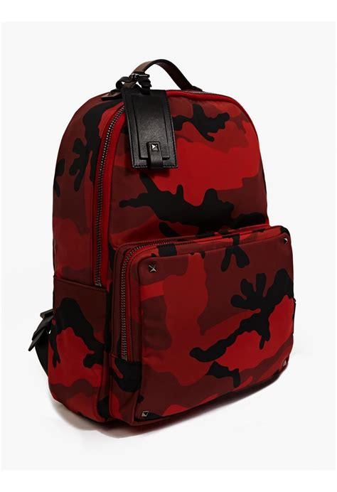 Valentino Men'S Red Camouflage Canvas Backpack in Red for