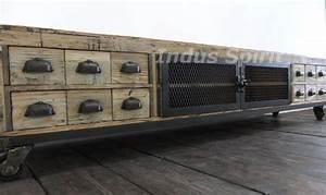 Meuble Design Industriel : meuble tv industriel bois et m tal ~ Teatrodelosmanantiales.com Idées de Décoration