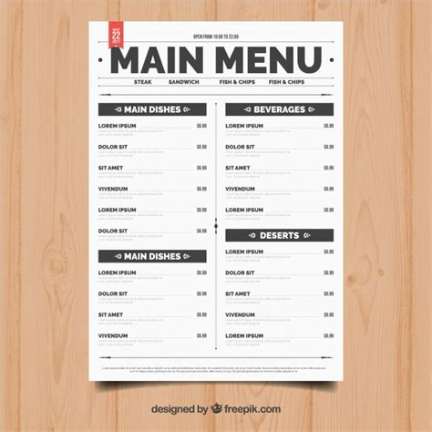 Easy Menu Templates Free by Simple Restaurant Menu Vector Free