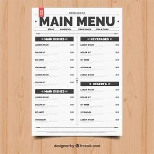 simple restaurant menu vector free download With easy menu templates free