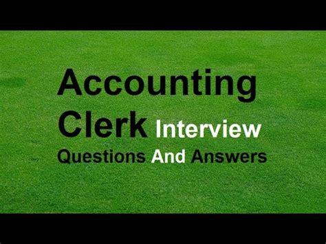 Accounting Clerk Questions by Accounting Clerk Questions And Answers