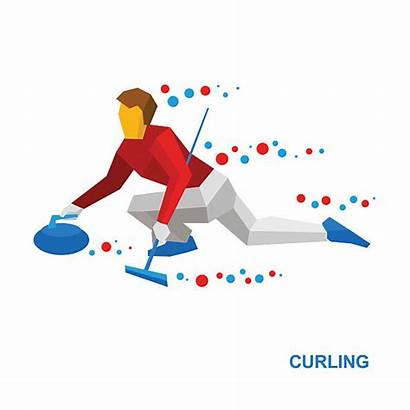 Curling Cartoon Sports Winter Clip Slide Stone