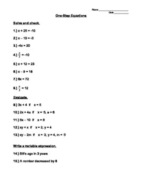 one step equations and evaluating expressions worksheet by