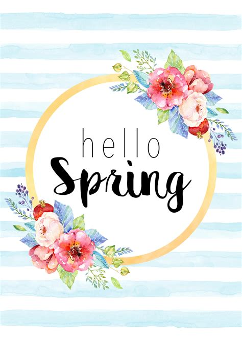 Free Printable Hello Spring Collection  The Cottage Market