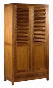 Dressing Bois Massif : armoire arya double 4 1 tiroirs 2 portes ~ Louise-bijoux.com Idées de Décoration