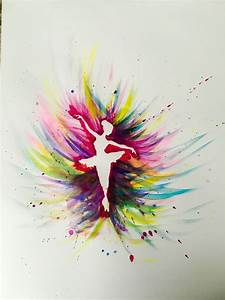 Colorful Ballerina watercolor beginner painting idea. You ...
