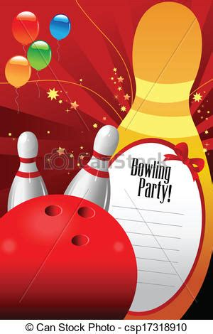 bowling party invitation template  vector illustration