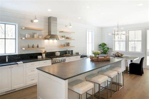 Soapstone Island Countertop by Blond Wood Kitchen Shelving Transitional Kitchen