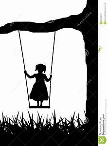Girl on swing stock vector. Image of rope, contour, white ...