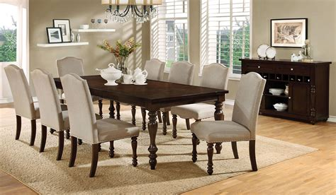 Hurdsfield Transitional Style 9 Piece Dining Table Set