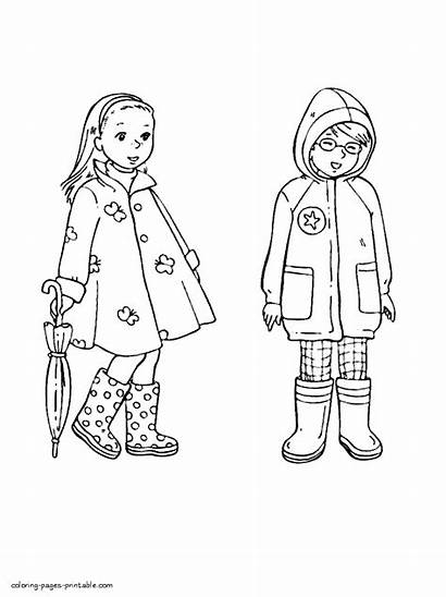 Coloring Pages Spring Clothing Seasons Printable Colouring
