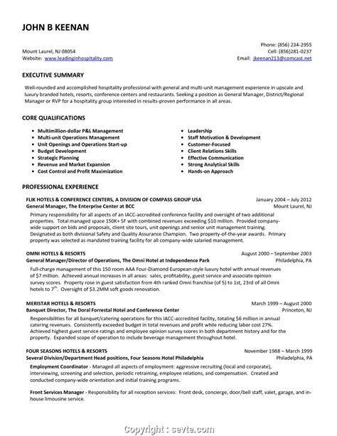 Restaurant Resume Objective by Free Fast Food Restaurant Manager Resume Restaurant