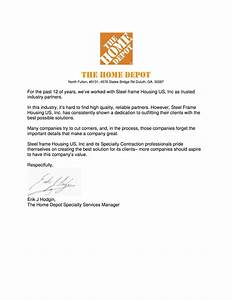 references steel frame housing us inc With home depot address letters