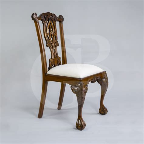 four new solid mahogany chippendale style dining chairs