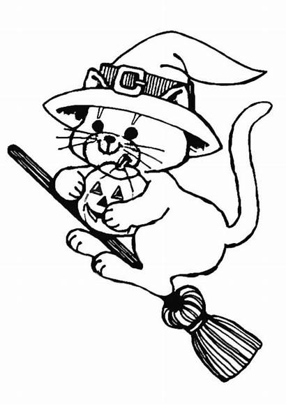 Flying Cat Coloring Halloween Pages Printable
