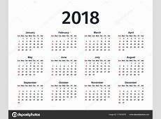 Calendar 2018 year Vector template planner — Stock
