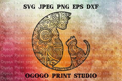 cat svg mandala svg zentangle svg kitten svg cricut file  ogogo print thehungryjpegcom
