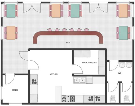 Floor Layout Of An Cafe by Cafe And Restaurant Floor Plan Solution Conceptdraw