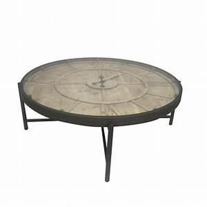 Table Basse Horloge : table basse ronde avec horloge en m tal et pin 106x106x37cm ferscott ~ Teatrodelosmanantiales.com Idées de Décoration