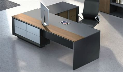 Stylish Mary Office Table In Wood & Leather Boss's Cabin