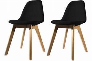Chaises Scandinaves Noires : lot de 2 chaises scandinave en tissu noire norway design sur sofactory ~ Teatrodelosmanantiales.com Idées de Décoration