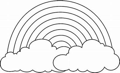 Rainbow Coloring Drawing Cloud Simple Behind Pages