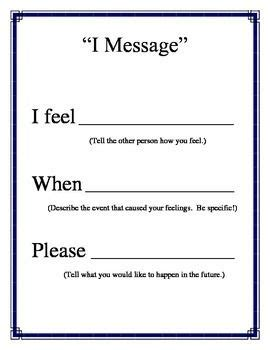 quot i message quot poster for conflict resolution counseling from counselorbev teachersnotebook
